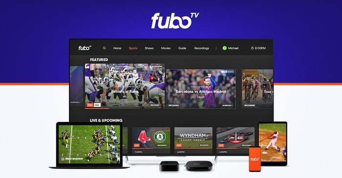 FuboTV displayed on different screens including a TV, laptop, and mobile device.