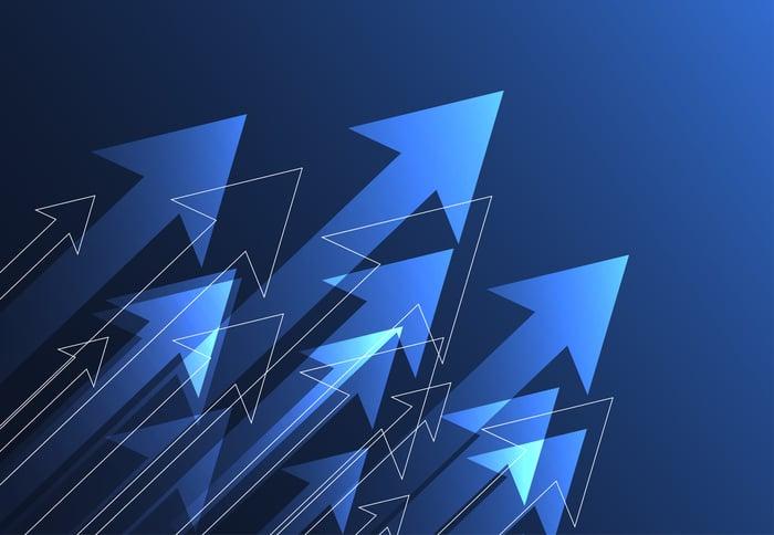 Light blue arrows on a dark blue background.
