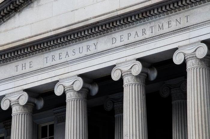 Upper part of Treasury building in Washington.