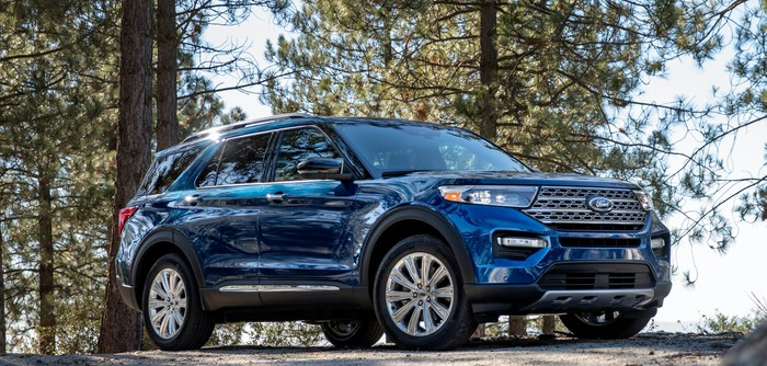 A blue 2020 Ford Explorer, a three-row crossover SUV.