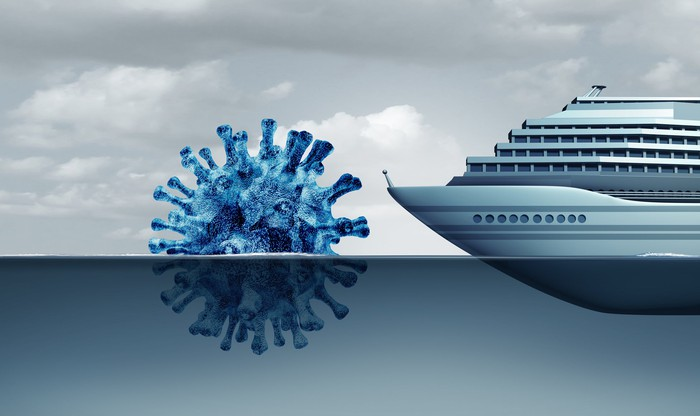 An illustration of a cruise ship heading toward a partially submerged coronavirus particle