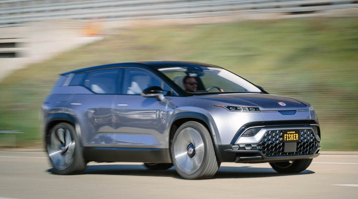 A silver Fisker Ocean prototype, an edgy upscale electric crossover SUV.