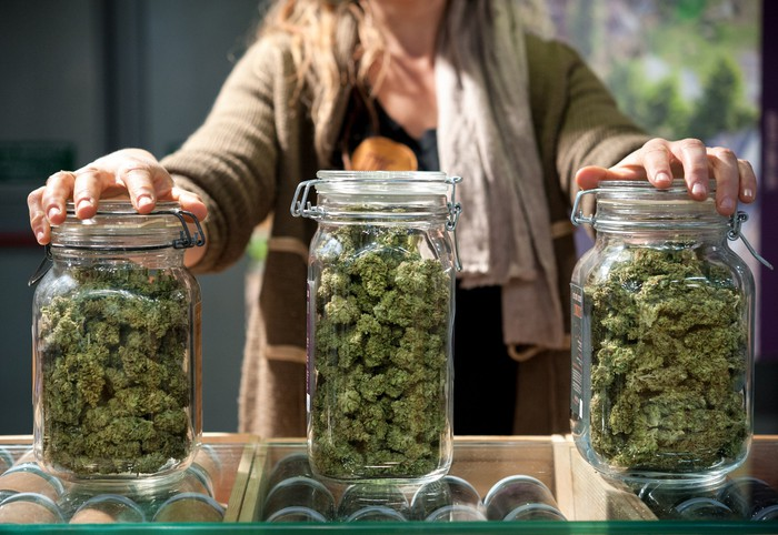 Marijuana buds in three jars with woman standing behind counter in dispensary.