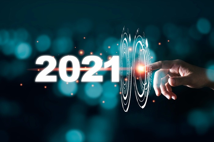 A finger touches the numbers 2021 with animations.