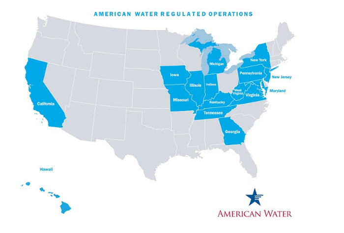 U.S. map showing the 16 states where American Water has regulated utility operations.