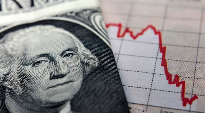 A folded one dollar bill featuring George Washington placed next to a plunging chart in a financial newspaper.