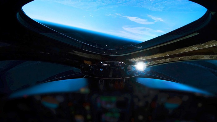 Space as viewed from Virgin Galactic ship cockpit.