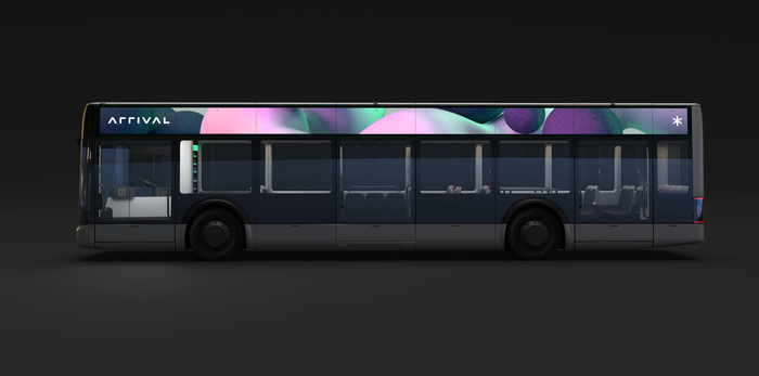 Side view of Arrival bus.