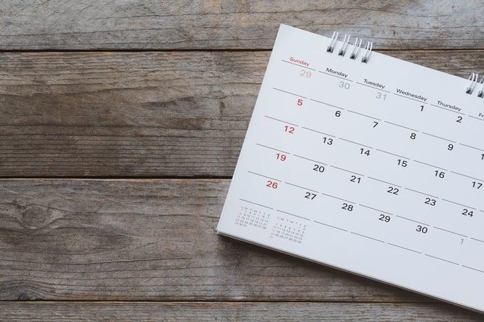 Calendar sitting on wooden surface