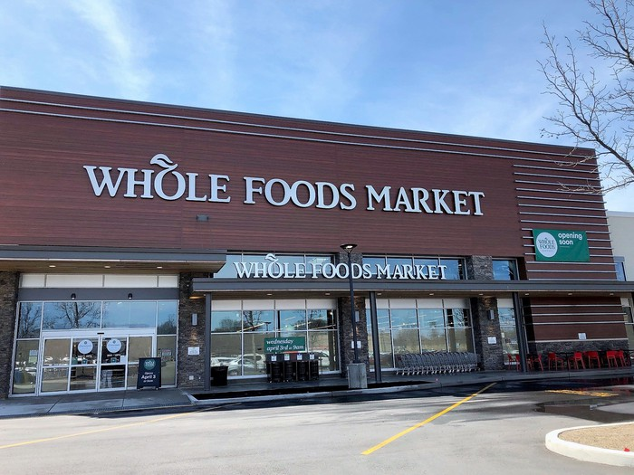 The exterior of a Whole Foods Market grocery store