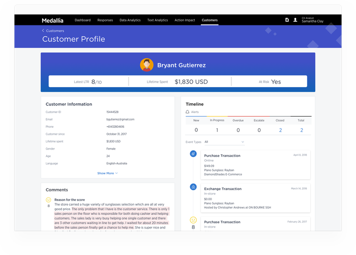 Medallia software interface