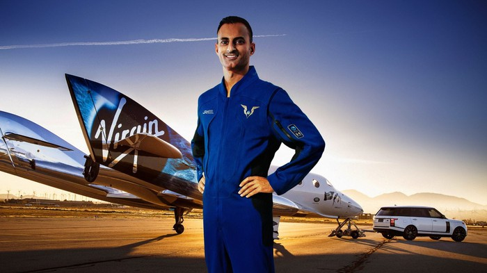 Virgin Galactic pilot Jameel Janjua modeling the company's spacesuit.
