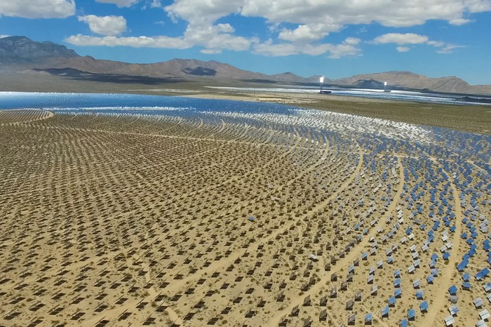 A large solar energy generating facility in the desert.