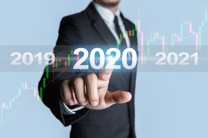 """Man pointing at screen with rising stock chart and """"2020"""" on it"""