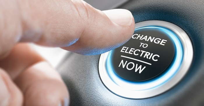 A finger pushing a button that says Change to electric now