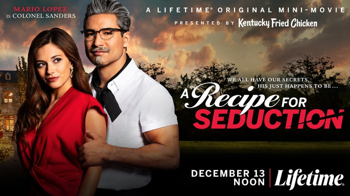 Poster for A Recipe for Seduction, featuring Mario Lopez as a young Colonel Sanders.