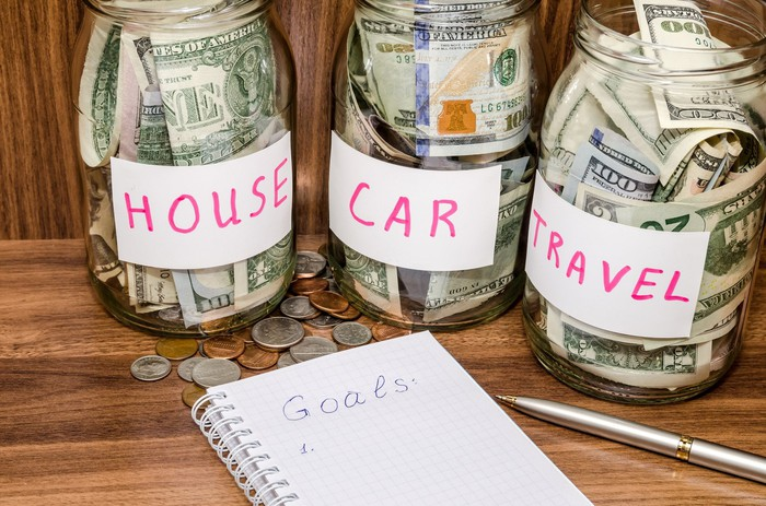 Jars filled with money individually labeled house, car, and travel next to a notebook that has Goals written at the top.