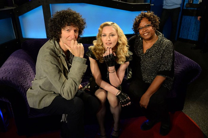 Howard Stern, Madonna, and Robin Quivers on the set of The Howard Stern Show.