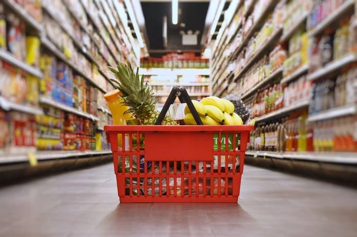 basket of groceries on the floor in store aisle