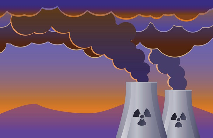 Cartoon picture of two nuclear reactors generating steam