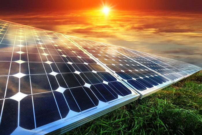 Solar panels on green grass with a bright sun in the background.