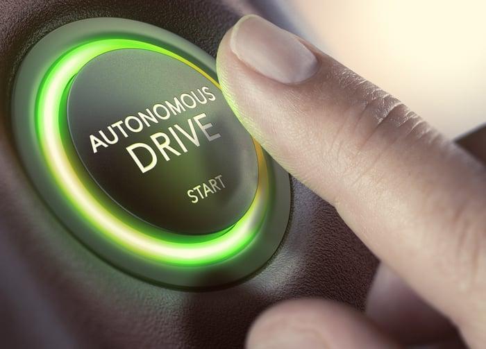 """Finger pressing an """"Autonomous Drive Start"""" button"""