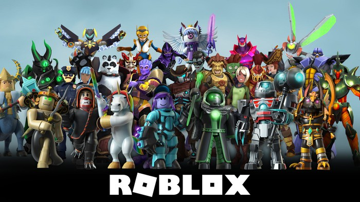 Group of fantastical avatars over company name ROBLOX.