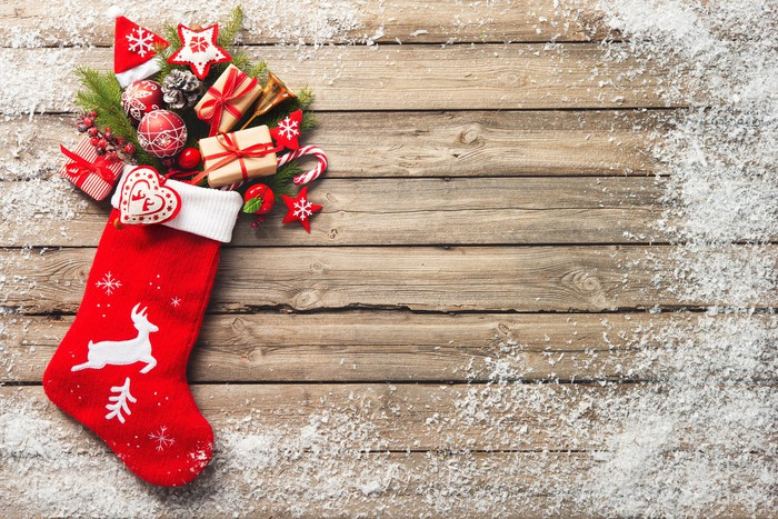 Christmas stocking on a wood background