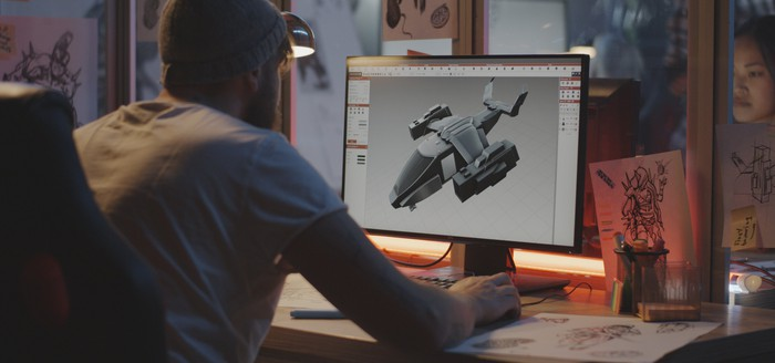 A developer creates a 3D model on a PC.