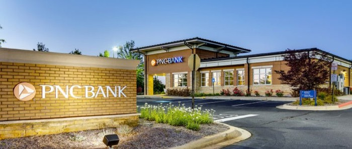 The exterior of a PNC bank.