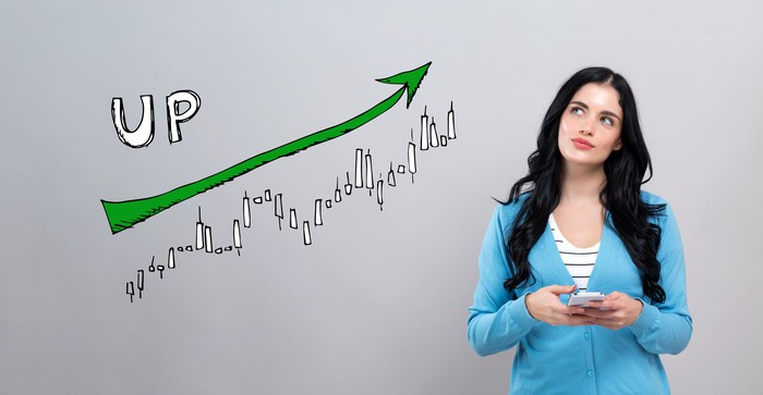 Share prices going up, woman with smartphone looking at the upward stock trend.