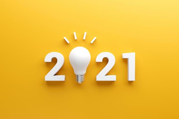 A lightbulb inside of a '2021' sign.