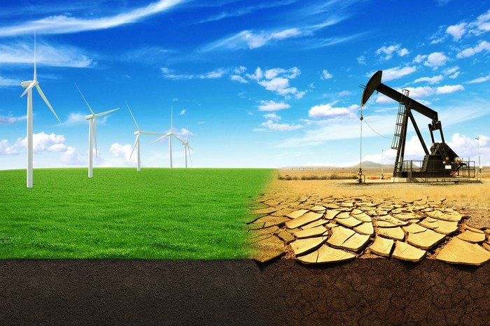 A split image with wind turbines on the left and an oil pumpjack on the right, symbolizing the choice between renewables and fossil fuels.