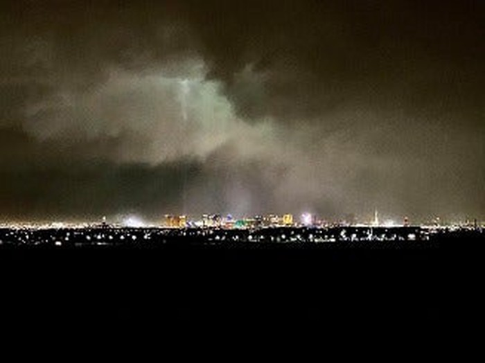 Las Vegas at night during a winter storm
