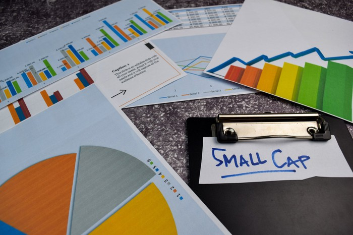 """Stock market analysis pages arranged on a table with a note that reads """"small cap"""""""