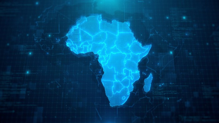 A map of Africa on a blue digital background.