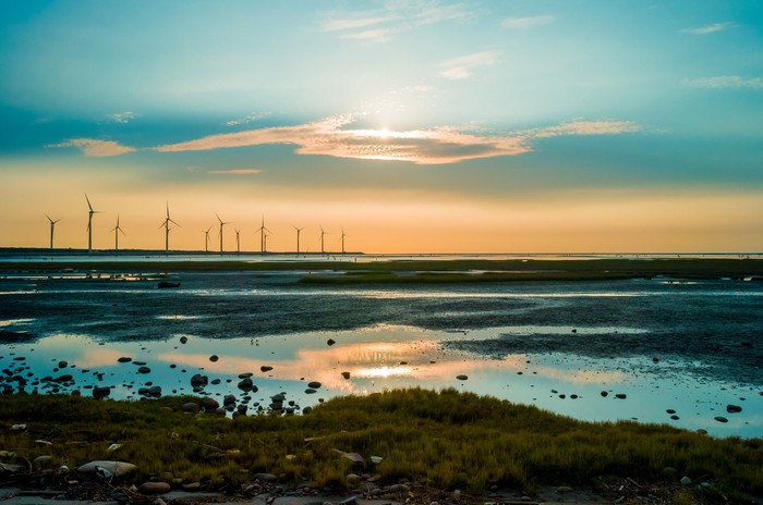 Wind turbines at sunset by the shore.