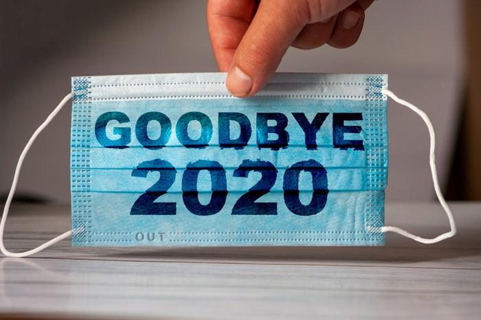 Mask with goodbye 2020 on it