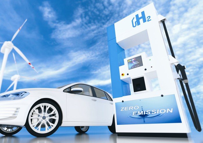A white car waiting for hydrogen refueling with blue sky in the background.