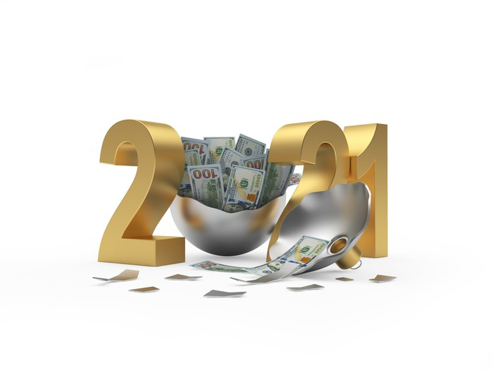 2021 with an opened ornament full of cash in the place of the zero