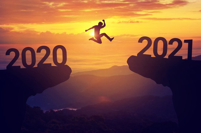 Man jumping across a cavern from 2020 to 2021 as the sun sets.
