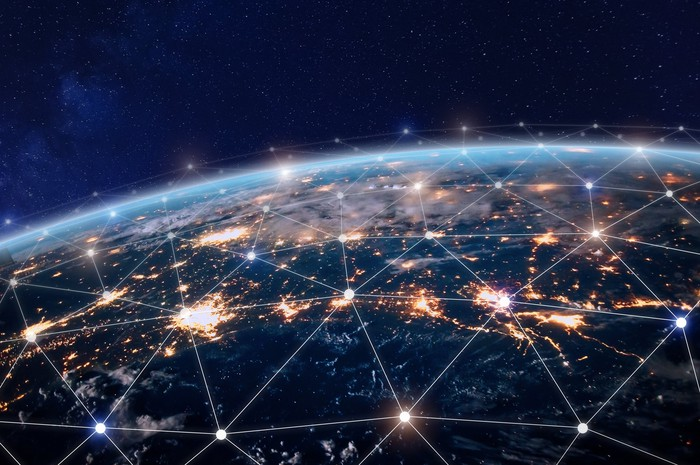 A network of wireless connections as seen from space.