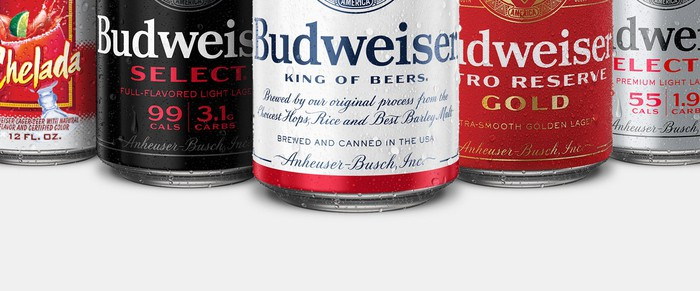 Cans of Budweiser beer