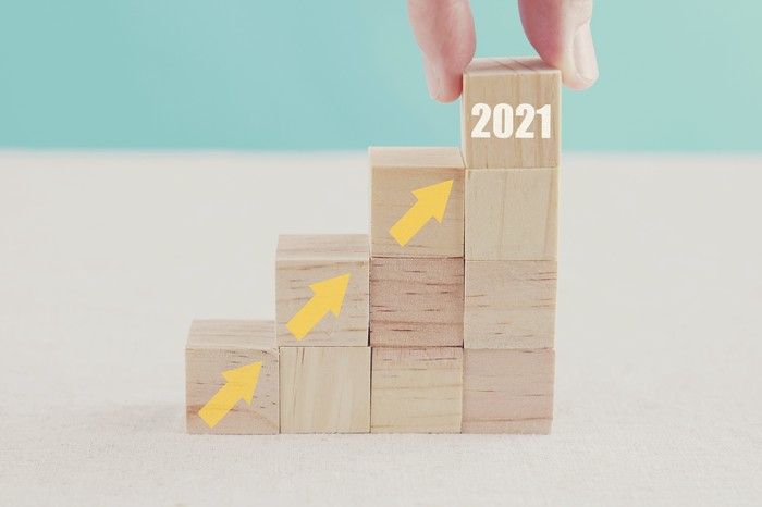 Concept for growth of money in 2021.
