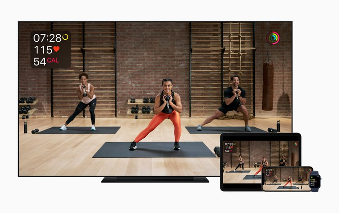 Apple's training service is shown on a TV, iPad, iPhone and Apple Watch