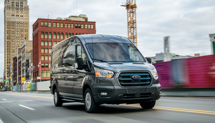A 2022 Ford E-Transit, a battery-electric commercial van.