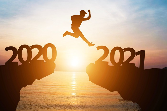 A peson jumping off a bridge that says 2020 to the other side that says 2021.