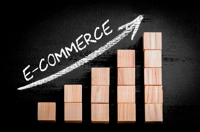 The word e-commerce is written above an upwardly sloping line and stacks of wooden blocks rising in a stair-step manner.