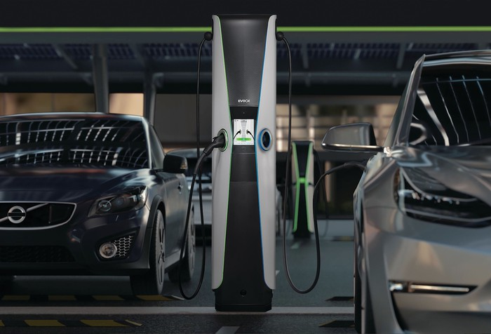 EVBox charging stations in parking garage