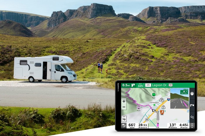 RV in the mountains with Garmin's GPS navigator device